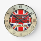 The Red London Double Decker Bus Round Clock