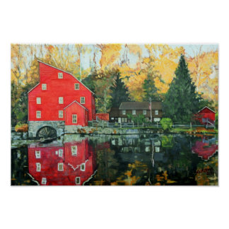 The Red Mill In Clinton, New Jersey Poster