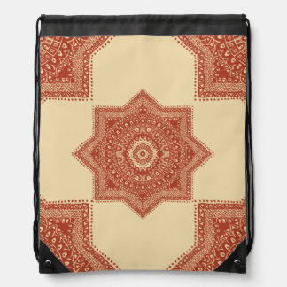 The Red Moroccan Pattern Drawstring Bag