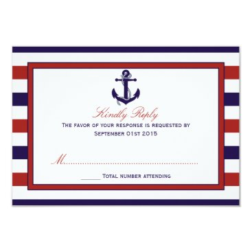 Beach Themed The Red & Navy Nautical Anchor Wedding Collection Card