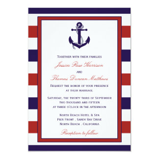 The Red & Navy Nautical Anchor Wedding Collection Card