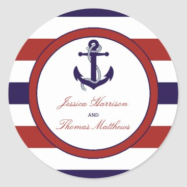 Beach Themed The Red & Navy Nautical Anchor Wedding Collection Classic Round Sticker