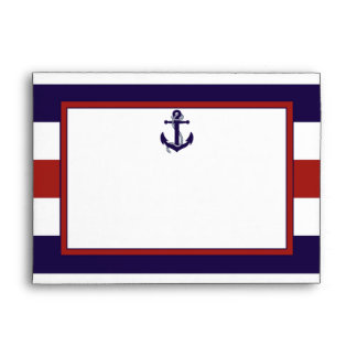 The Red & Navy Nautical Anchor Wedding Collection Envelope