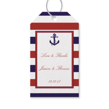 Beach Themed The Red & Navy Nautical Anchor Wedding Collection Gift Tags