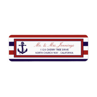 The Red & Navy Nautical Anchor Wedding Collection Label