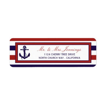 Beach Themed The Red & Navy Nautical Anchor Wedding Collection Label
