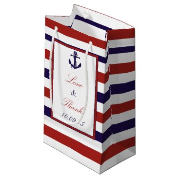 Beach Themed The Red & Navy Nautical Anchor Wedding Collection Small Gift Bag