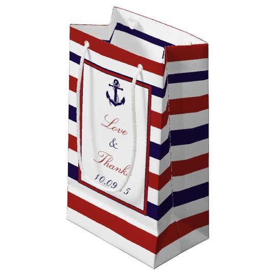 The Red Navy Nautical Anchor Wedding Collection Small Gift Bag