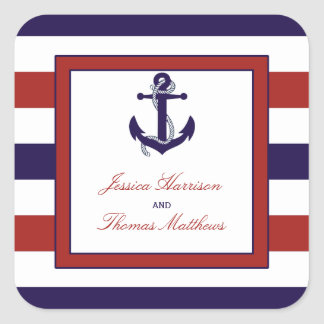 The Red & Navy Nautical Anchor Wedding Collection Square Sticker