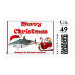 the Red Nose Land Shark Postage Stamp