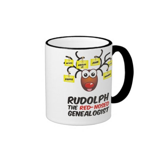 The Red-Nosed Genealogist Ringer Coffee Mug