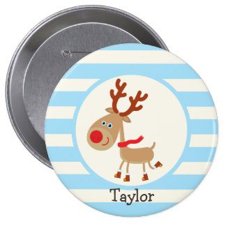 the Red Nosed Reindeer; Blue Stripes 4 Inch Round Button