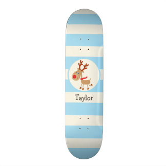 the Red Nosed Reindeer; Blue Stripes Skate Board Decks