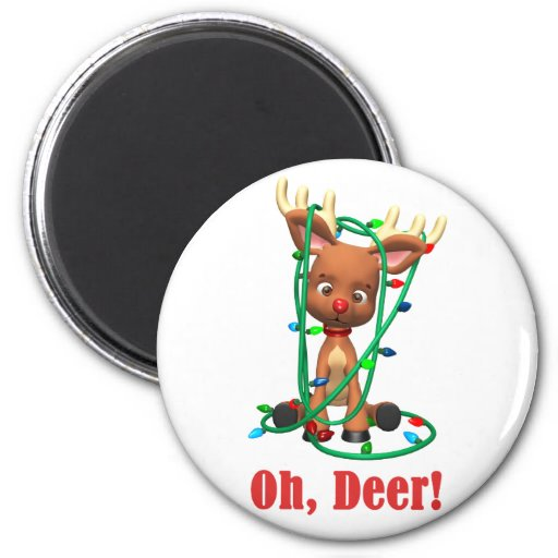 the Red Nosed Reindeer Gets Tangled Up 2 Inch Round Magnet