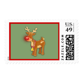 the Red Nosed Reindeer Green Postage Stamp