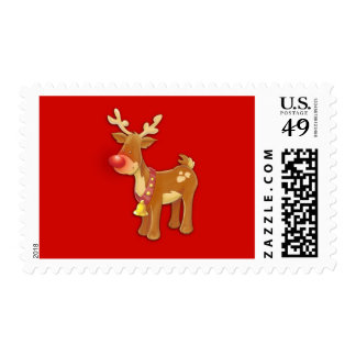 the Red Nosed Reindeer Red Postage Stamp