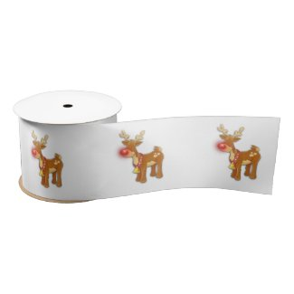the Red Nosed Reindeer White Satin Ribbon