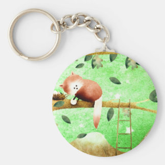 The red panda came prepared ... basic round button keychain