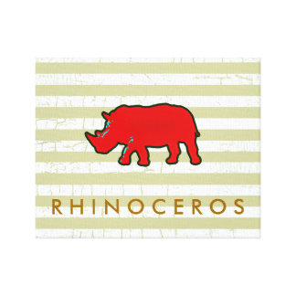 the red rhinoceros stretched canvas print