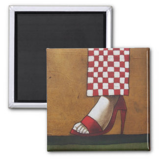 The Red Slipper 2 Inch Square Magnet