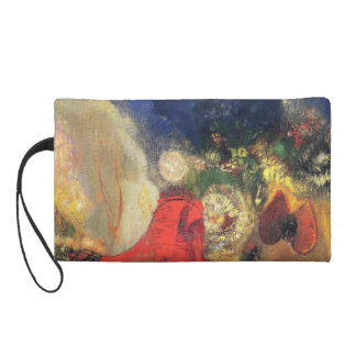 The Red Sphinx  by Odilon Redon Wristlet Clutches