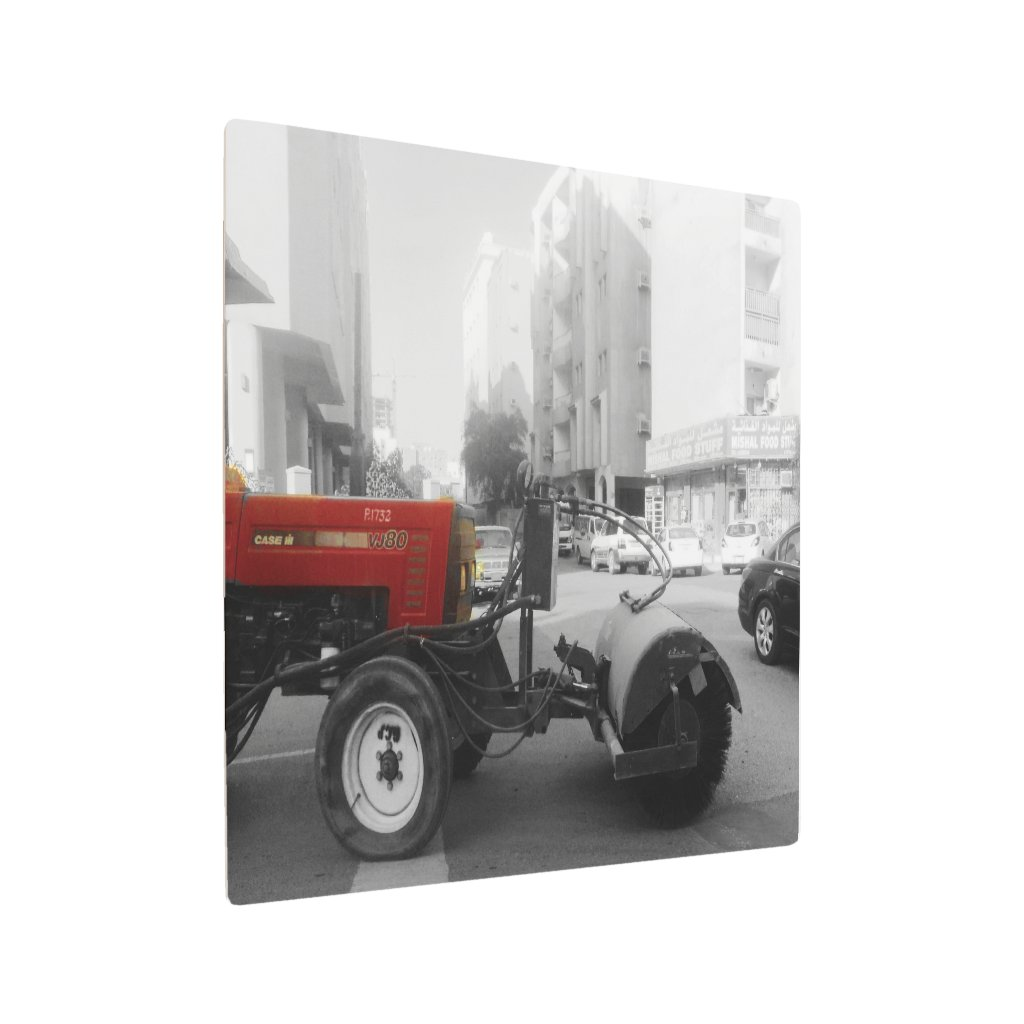 the red street sweeper truck metal print