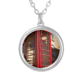 The red Telephonebox Silver Plated Necklace