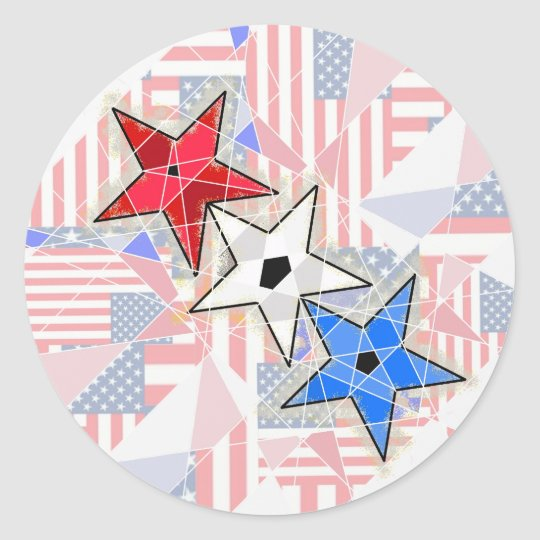 The Red, The White, The Blue,... Stars and Stripes Classic Round Sticker