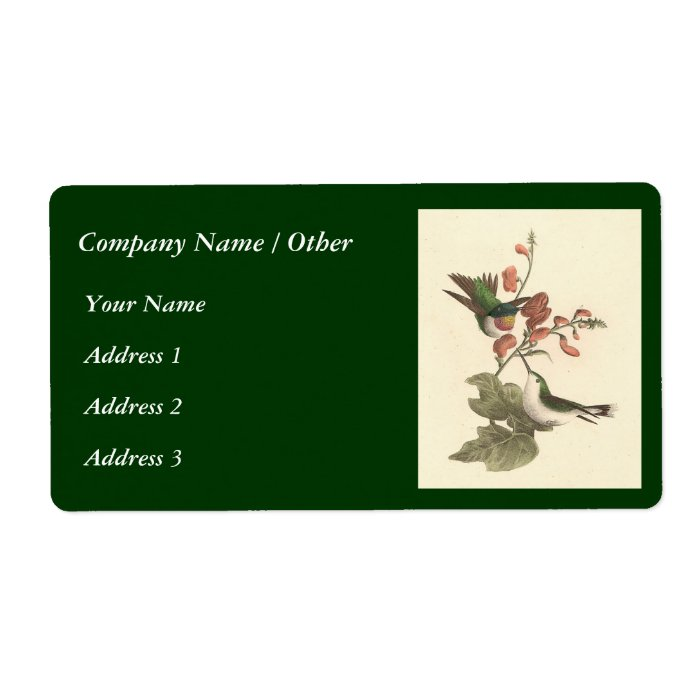 The Red-throated Hummingbird (Trochilus colubris) Label
