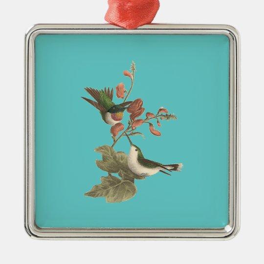 The Red-throated Hummingbird (Trochilus colubris) Metal Ornament