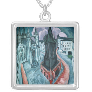 The Red Tower in Halle, 1915 Silver Plated Necklace