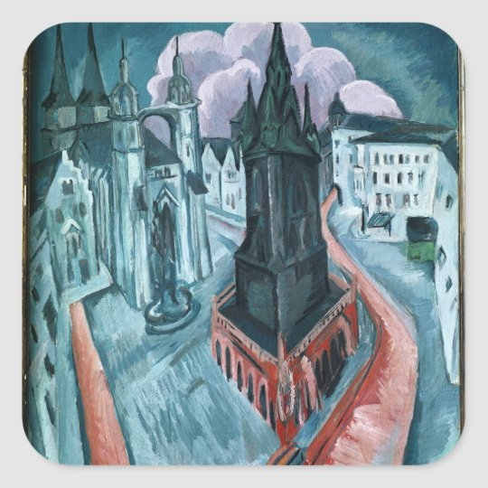 The Red Tower in Halle, 1915 Square Sticker