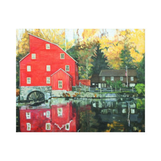 The Red Water Mill, Clifton New Jersey Landmark Canvas Print