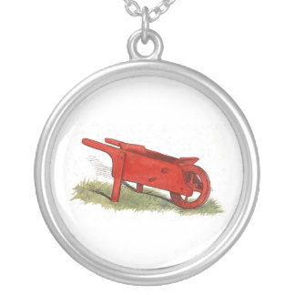 The Red Wheelbarrow Round Pendant Necklace