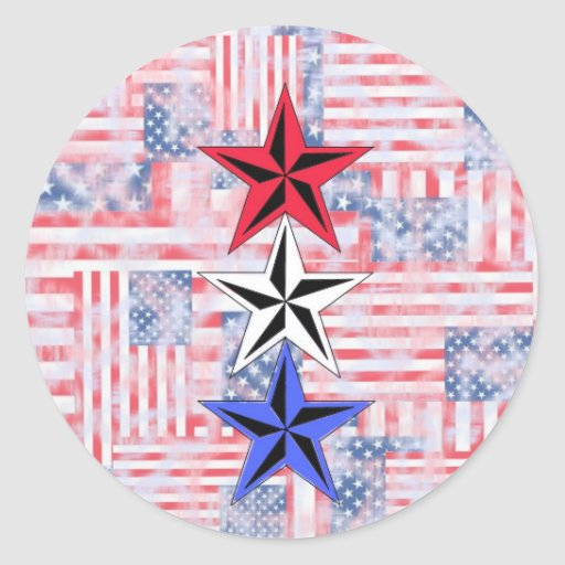The Red White and Blue Stars. Round Sticker