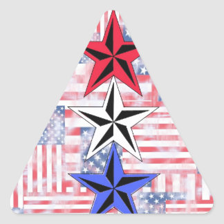 The Red White and Blue Stars. Triangle Sticker