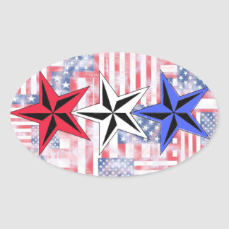 The Red White and Blue Stars Oval Sticker