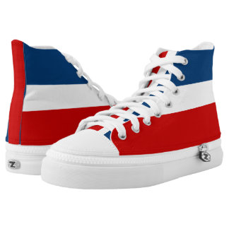 The Red White and Blue Striped Zipz High Top Shoes