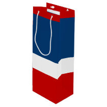 The Red White and Blue - Wine  Gift Bag, Glossy Wine Gift Bag