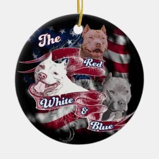 The Red, White & Blue Pitbull Dogs Ceramic Ornament