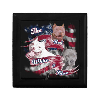 The Red, White & Blue Pitbull Dogs Jewelry Box