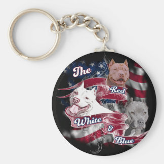 The Red, White & Blue Pitbull Dogs Keychain