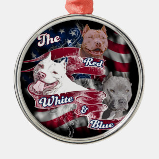 The Red, White & Blue Pitbull Dogs Metal Ornament