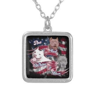 The Red, White & Blue Pitbull Dogs Silver Plated Necklace