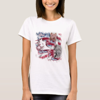 The Red, White & Blue Pitbull Dogs T-Shirt