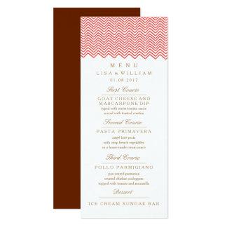The Red Zig Zag Wedding Menu Card