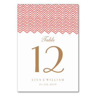The Red Zig Zag Wedding Table Card