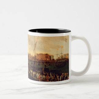 The Redentore Procession (oil on canvas) Two-Tone Coffee Mug