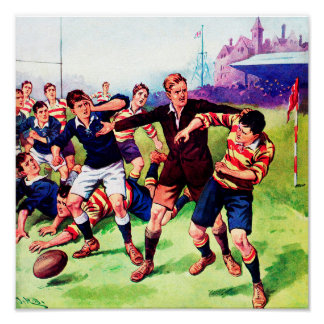 The Ref Steps In - Vintage Rugby Poster