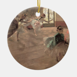 The Rehearsal by Edgar Degas, Vintage Ballet Art Ceramic Ornament
